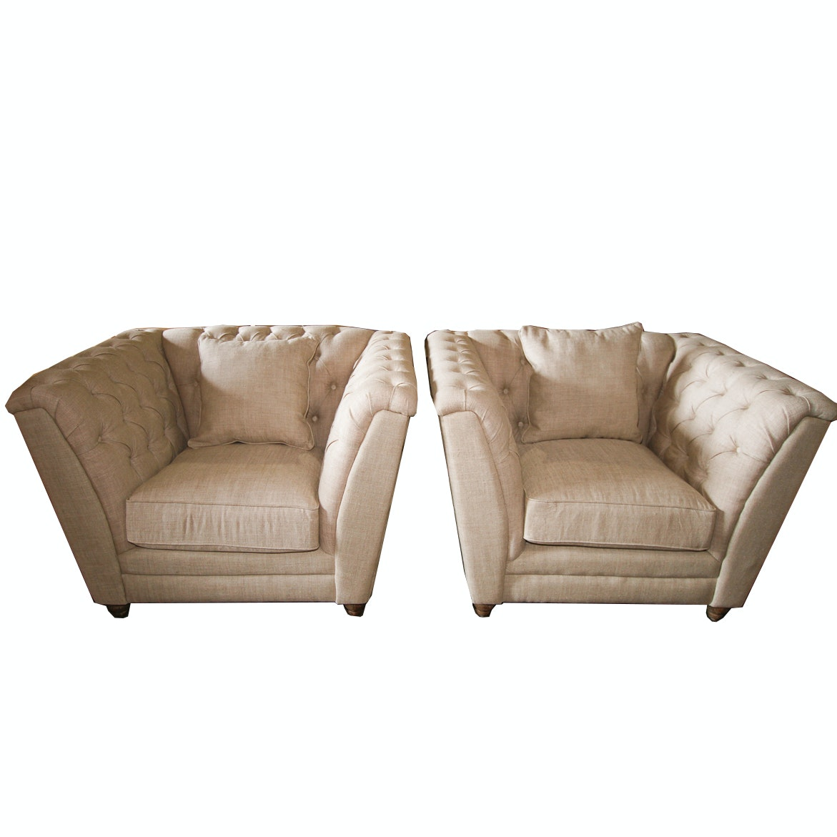 "Cream ""Kensington Chesterfield"" Chairs by Blink Furniture"