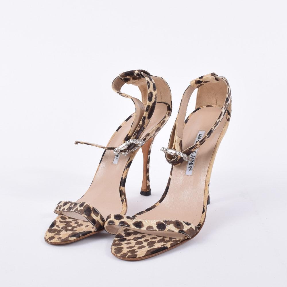 Manolo Blahnik Leopard Print and Rhinestone Strap Heeled Sandals