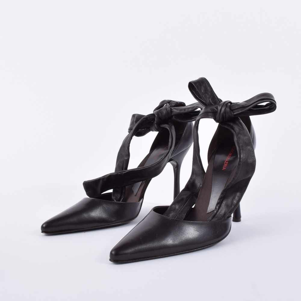 "BCBG ""Maxazria"" Leather Wrap Heels"