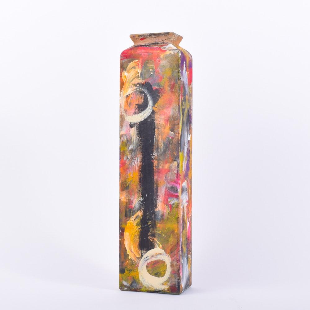 Original Pam McMahon Signed Hand Painted Modernist Vase