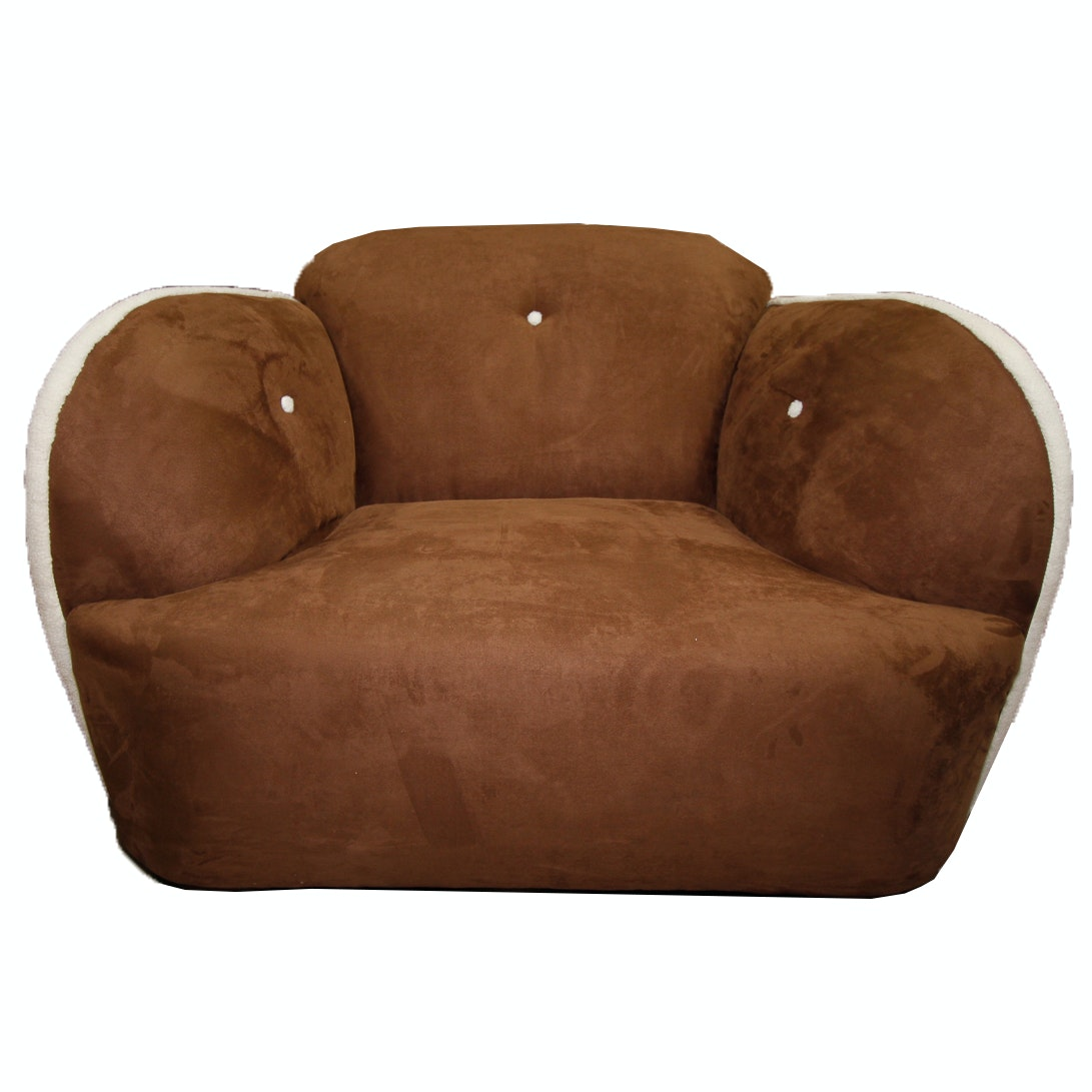 Brown Faux Microsuede Club Chair