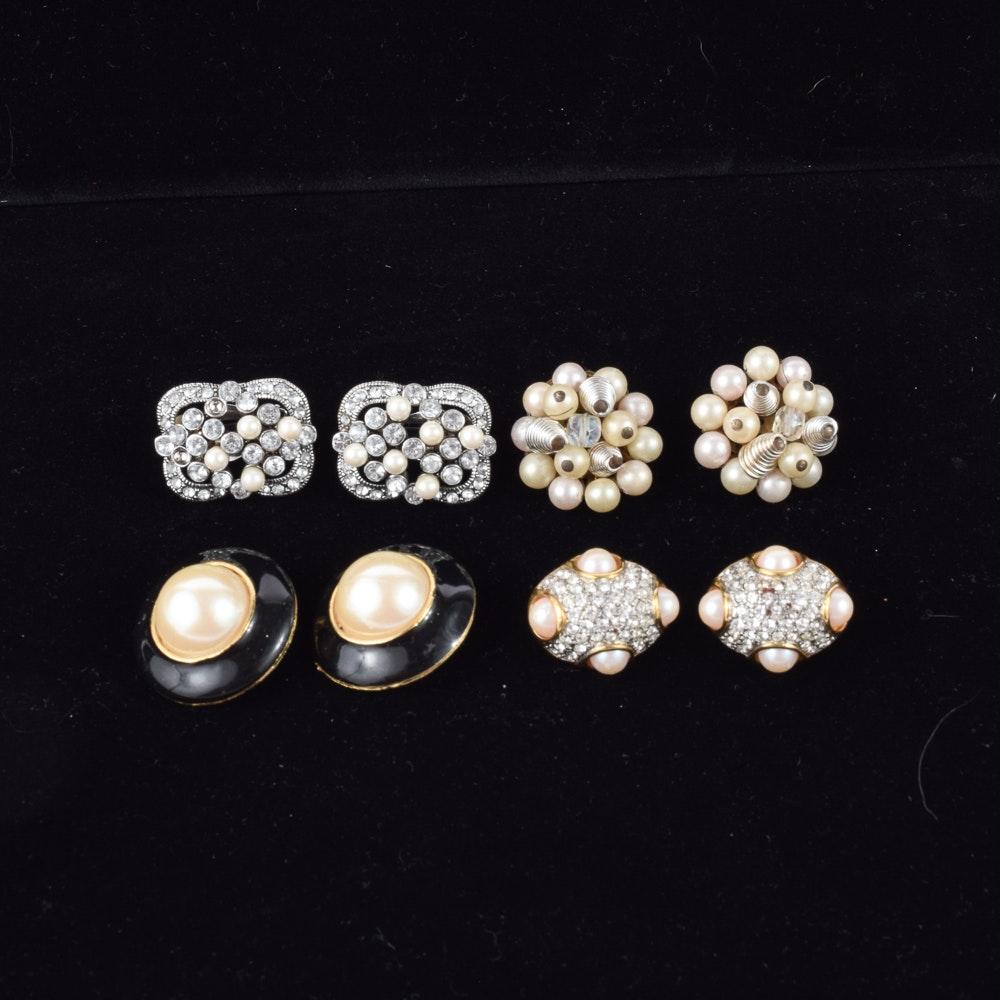 Vintage Clip Rhinestone Earrings