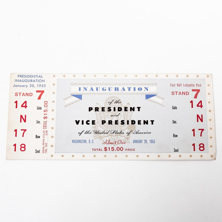 1953 Dwight D. Eisenhower Presidential Inauguration Ticket
