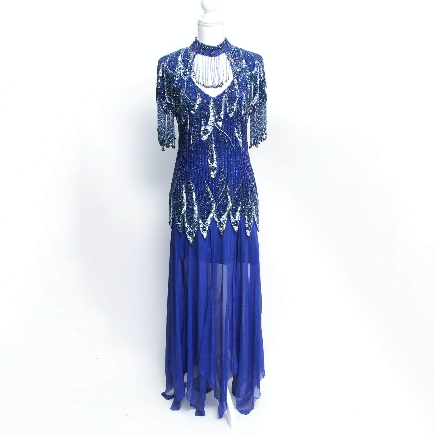 Vintage Sapphire Blue Beaded Gown Attributed to Stenay
