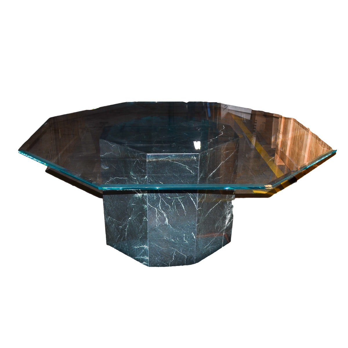 Glass Top Dining Table with Octagonal Marble Base