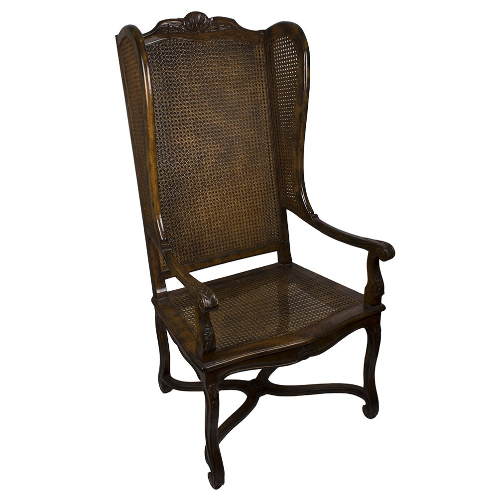 Caned Wood Wingback Chair