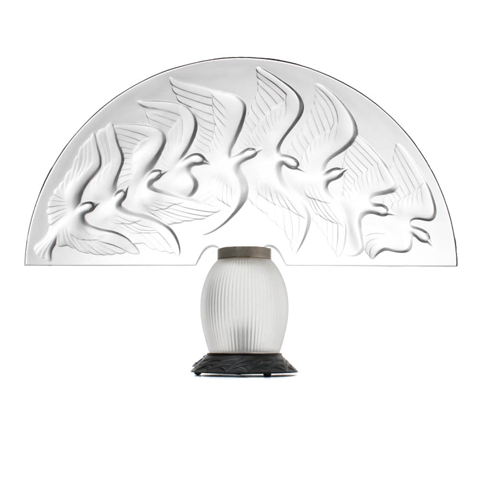 Lalique France Frosted Glass Dove Table Lamp