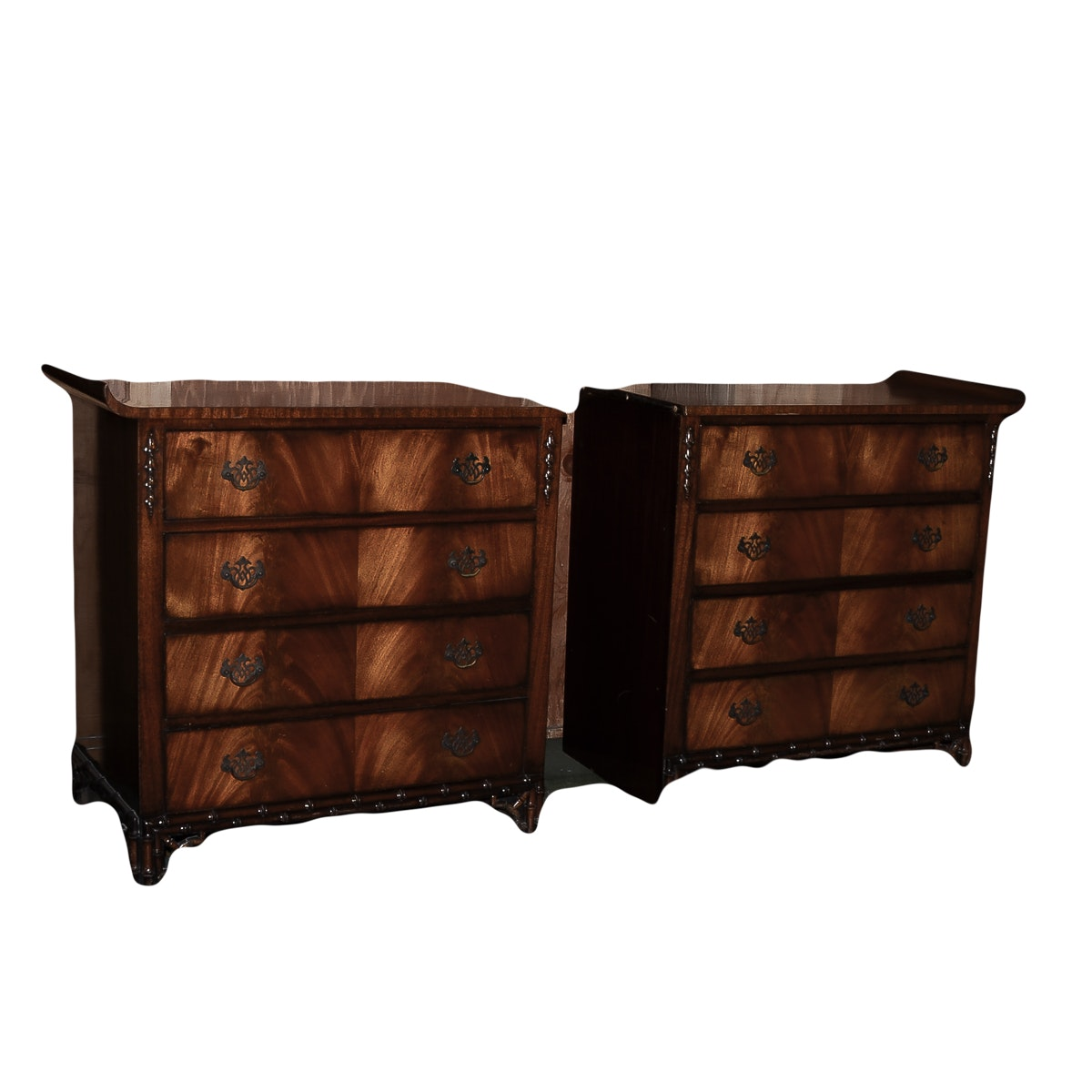 Antique Chinese Chippendale Style Two-Part Dresser
