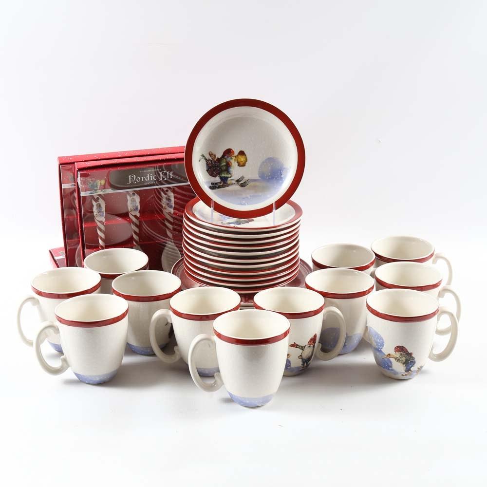 "Williams-Sonoma Christmas Tableware Including ""Nordic Elf"""