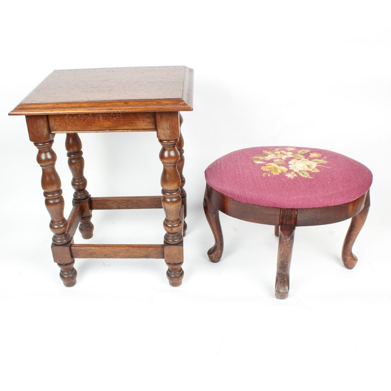 Needlepoint Footstool and Low Profile Side Table