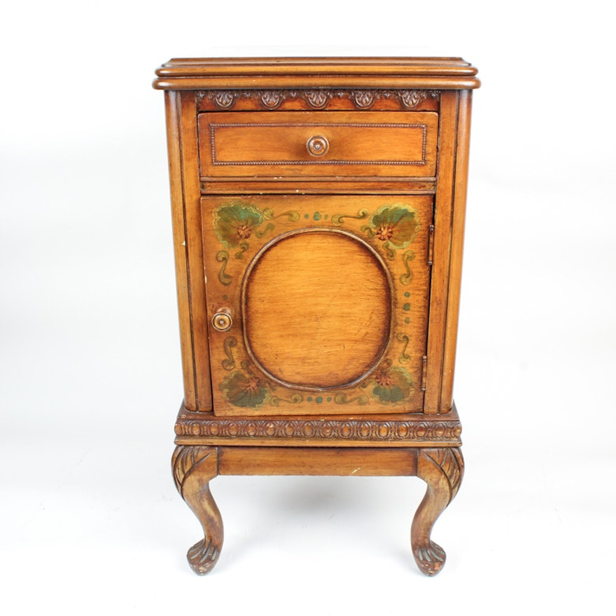 Vintage Hand Painted French Provincial Style Cabinet End Table