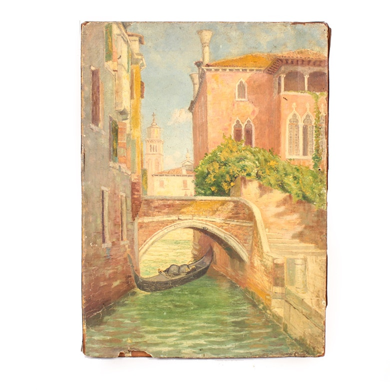 Antique Oil on Canvas Painting of a Venice Landscape