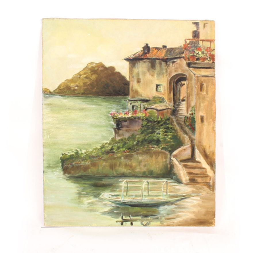 Oil on Canvas Painting of a Mediterranean Villa by the Water