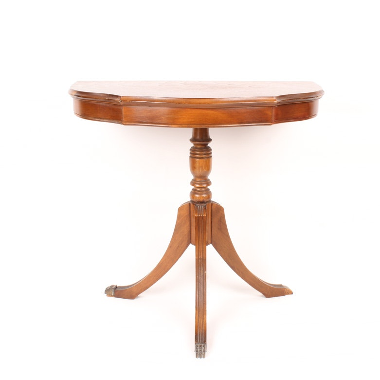 Vintage Mahogany Serpentine Demilune Side Table