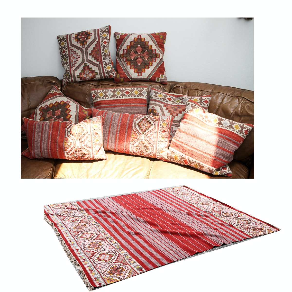 Southwest Themed Area Rug and Eight Throw Pillows