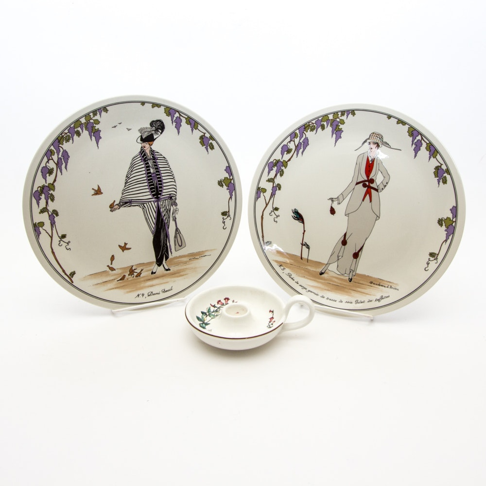 """A Pair of Villeroy & Boch Plates and Candle Holder featuring """"Design 1900"""""""