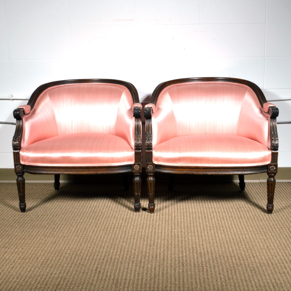 Vintage Hollywood Regency Style Upholstered Club Chairs By Interior Crafts  : EBTH