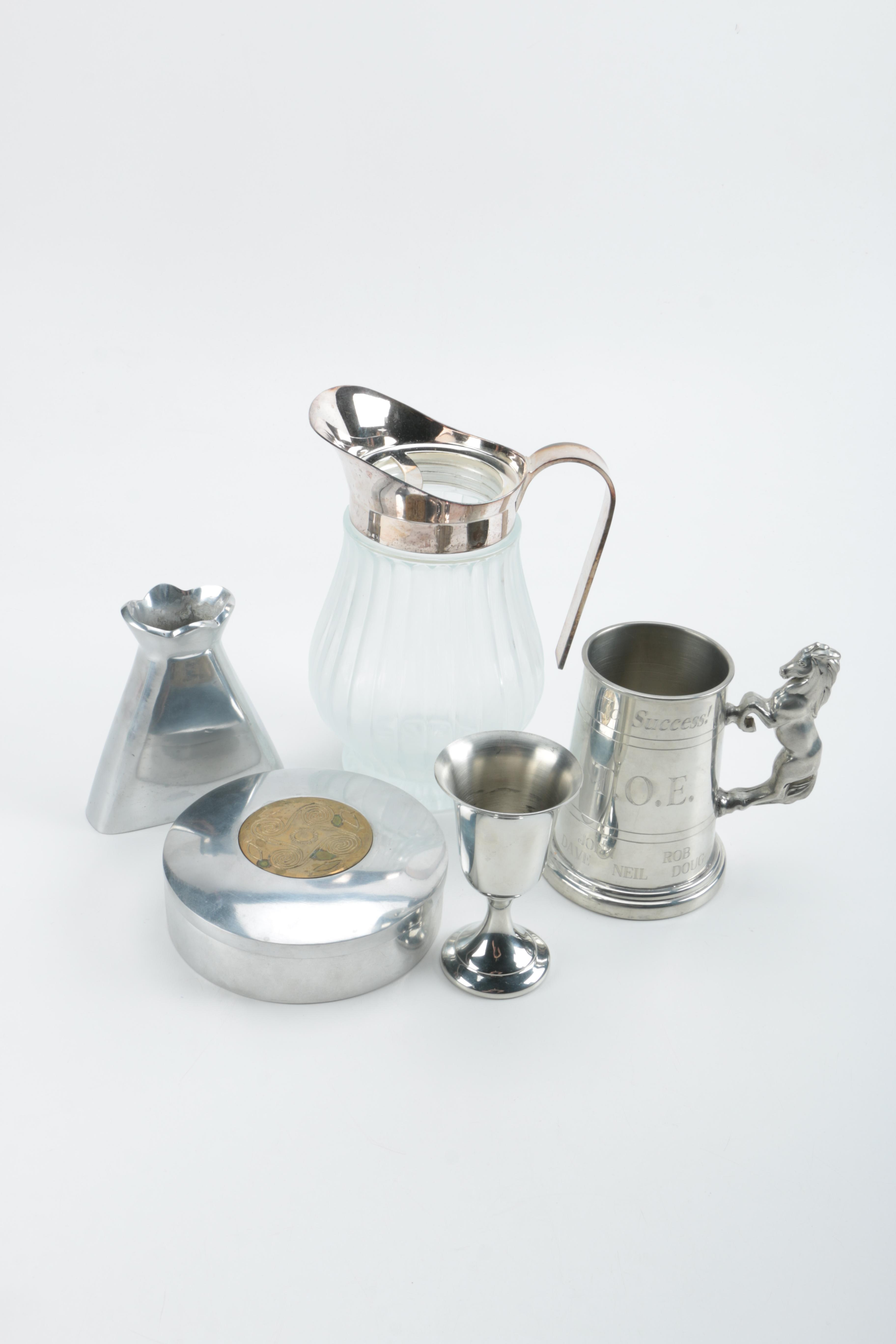 Assorted Metal Tableware and Decor