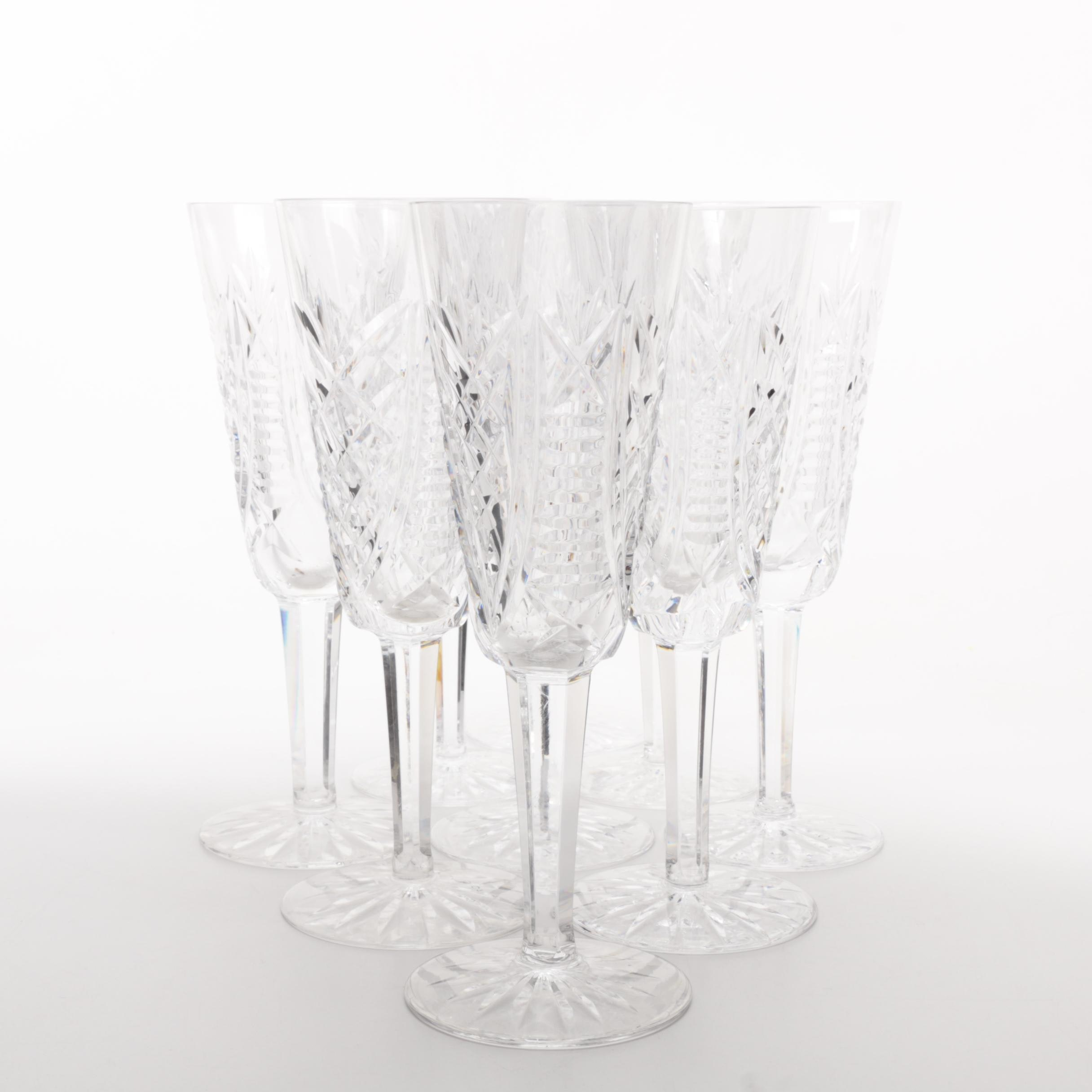 "Set of Waterford Crystal ""Clare"" Champagne Futes"