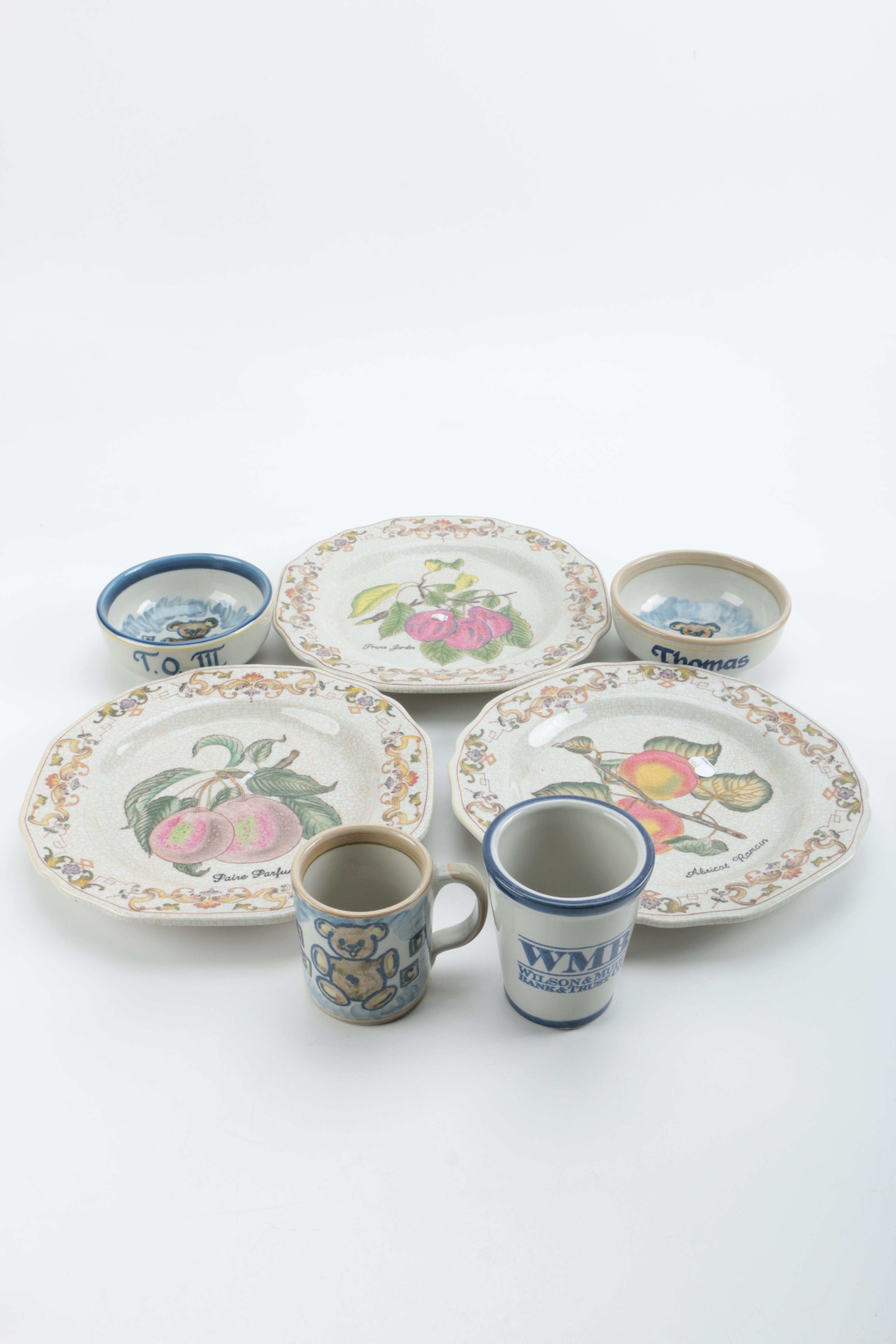 Wong Lee and Louisville Stoneware Plates, Bowls and Mugs