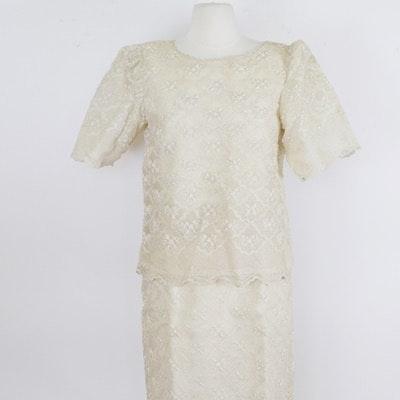 Cream Beaded Sheath (Terno) Evening Dress and Jacket