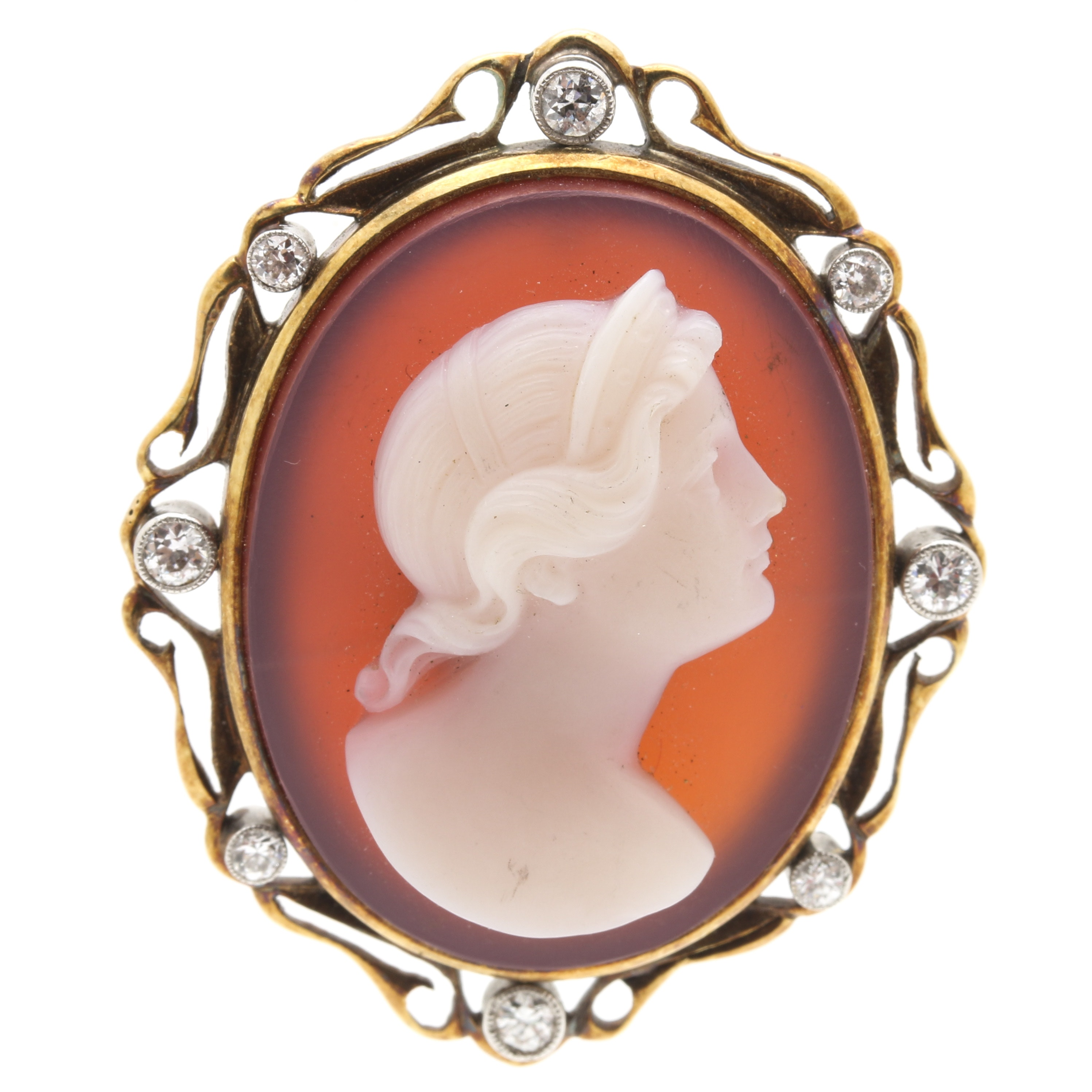 14K Yellow Gold Diamond and Agate Cameo Brooch Pendant