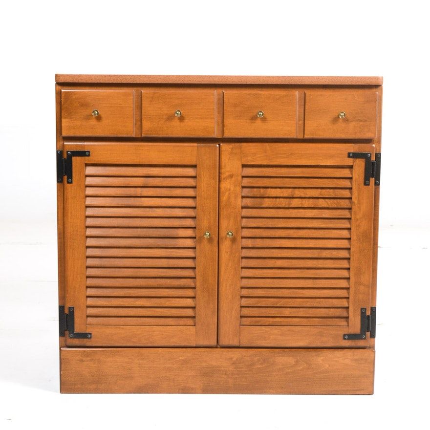 Ethan Allen Heirloom Nutmeg Maple Louvered Door Cabinet Ebth