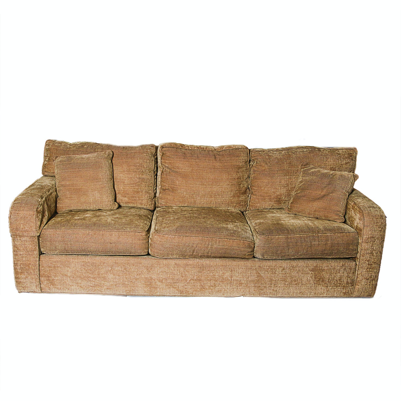 Ethan Allen Gold Tone Chenille Sofa Ebth