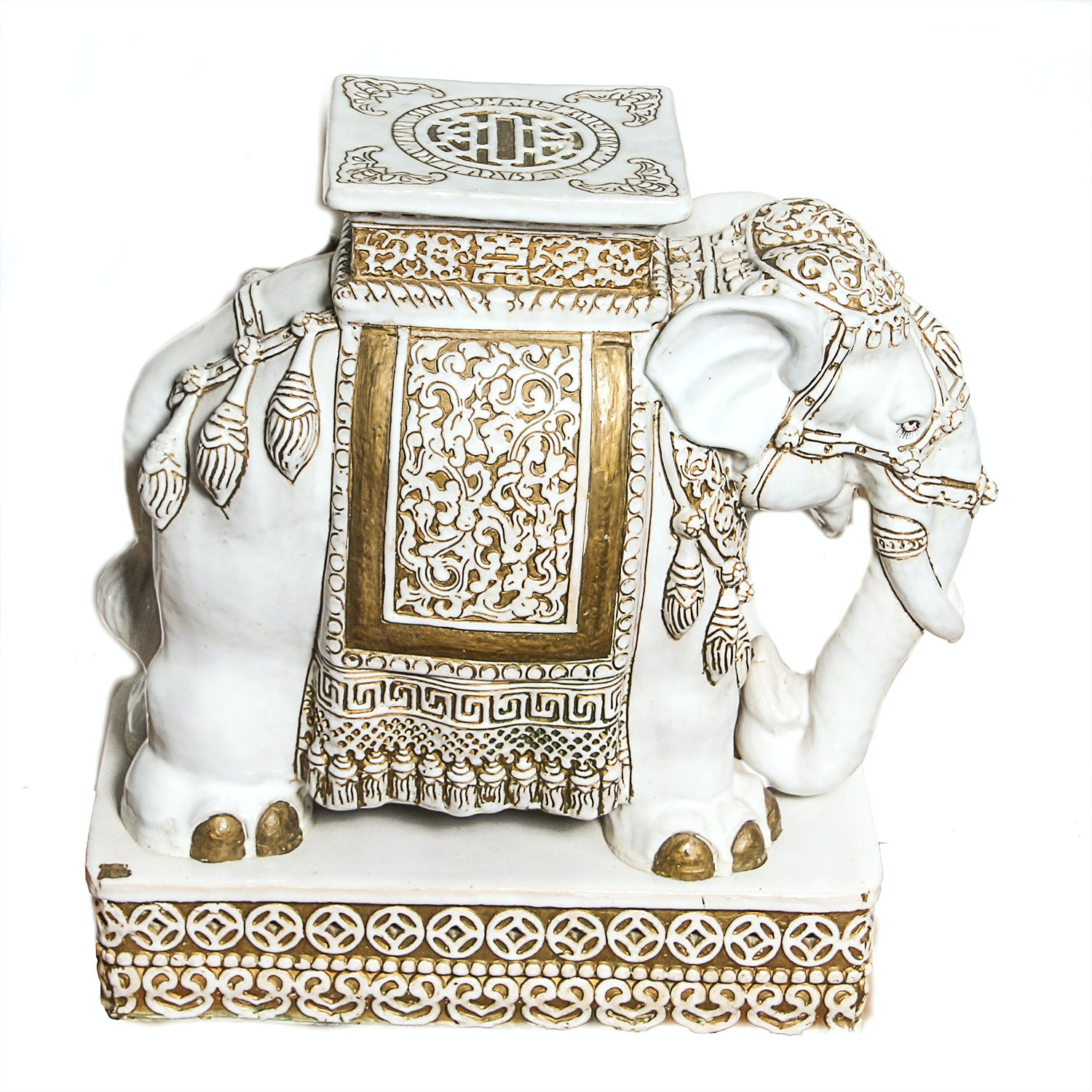 White and Gold-Tone Ceramic Elephant Plant Stand