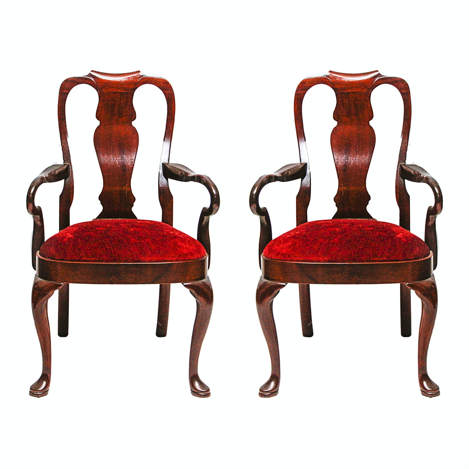 Pair of Queen Anne Style Fiddleback Armchairs