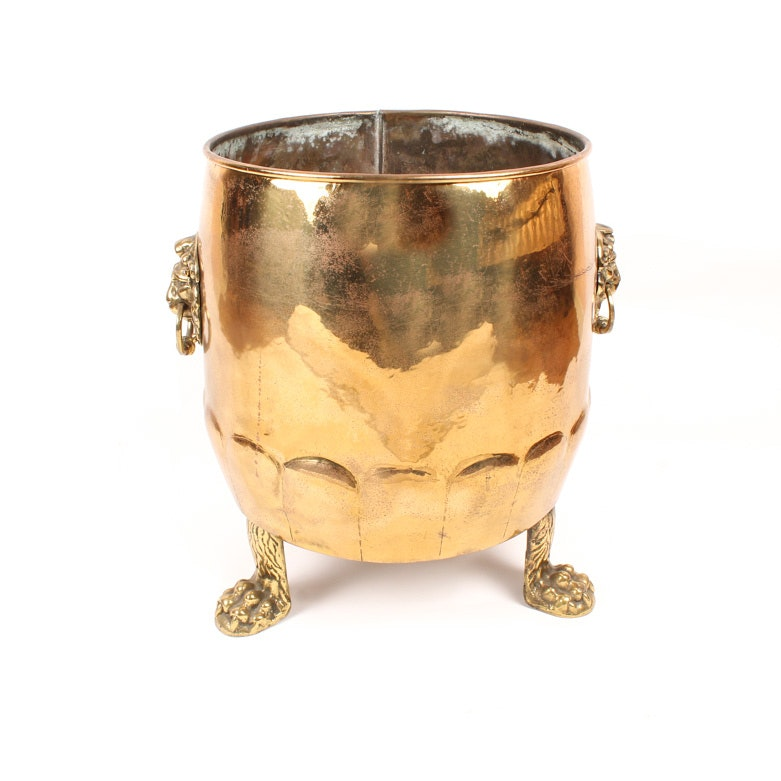 Vintage Footed Brass Firewood Bucket
