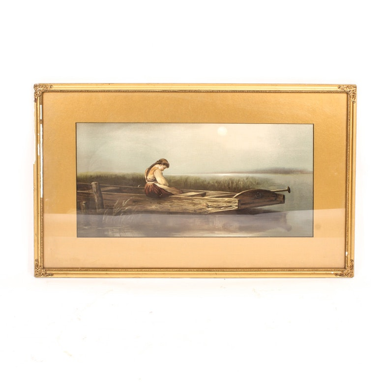 "19th Century Offset Lithograph on Academy Board After ""Alone"""