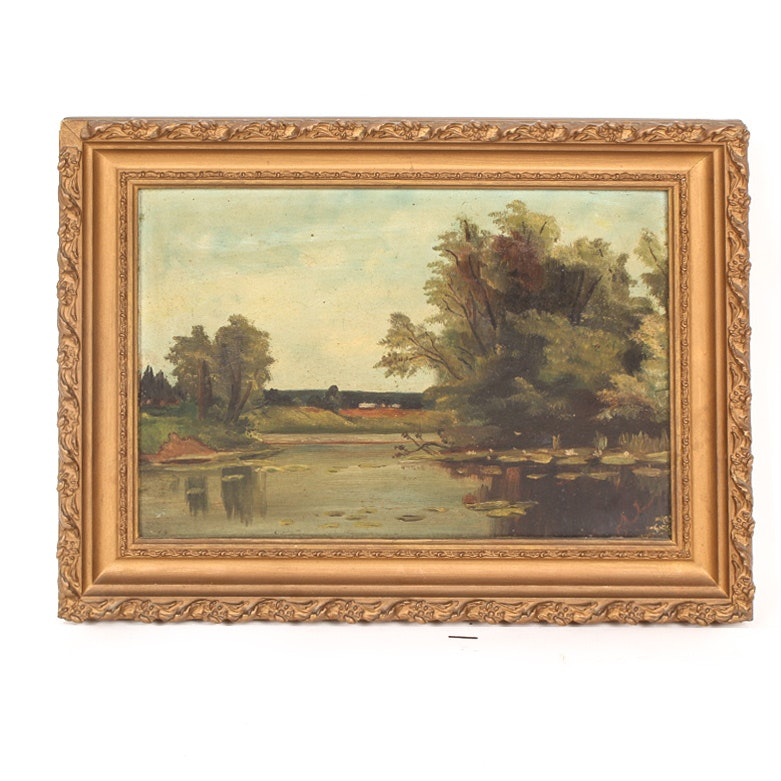 Antique Oil on Academy Board Painting of a Country Landscape