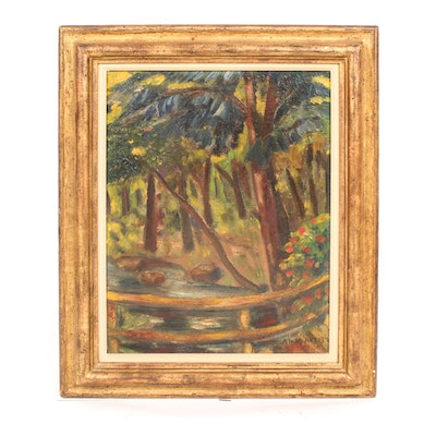 Vintage Oil Painting on Board of a Forest Landscape