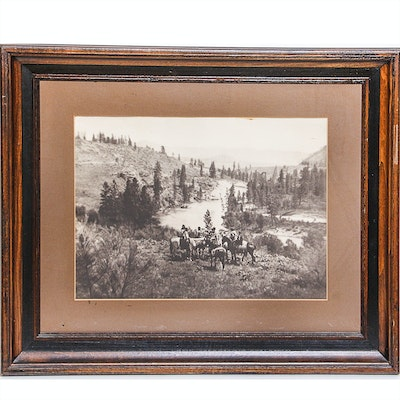 Black and White Offset Lithograph Print After Antique Photo of Native Americans