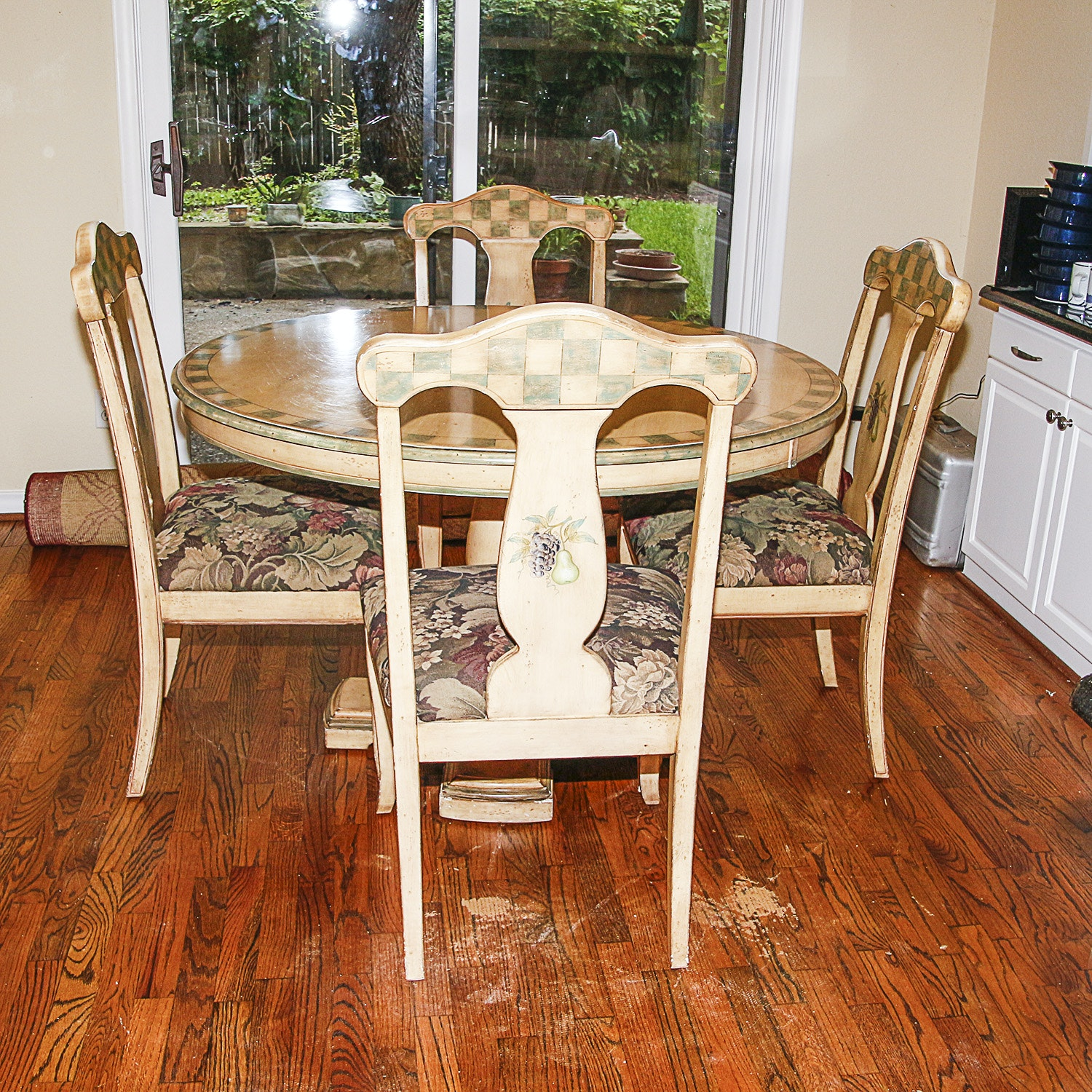 Handpainted Fruit Motif Dining Table Set with Four Chairs