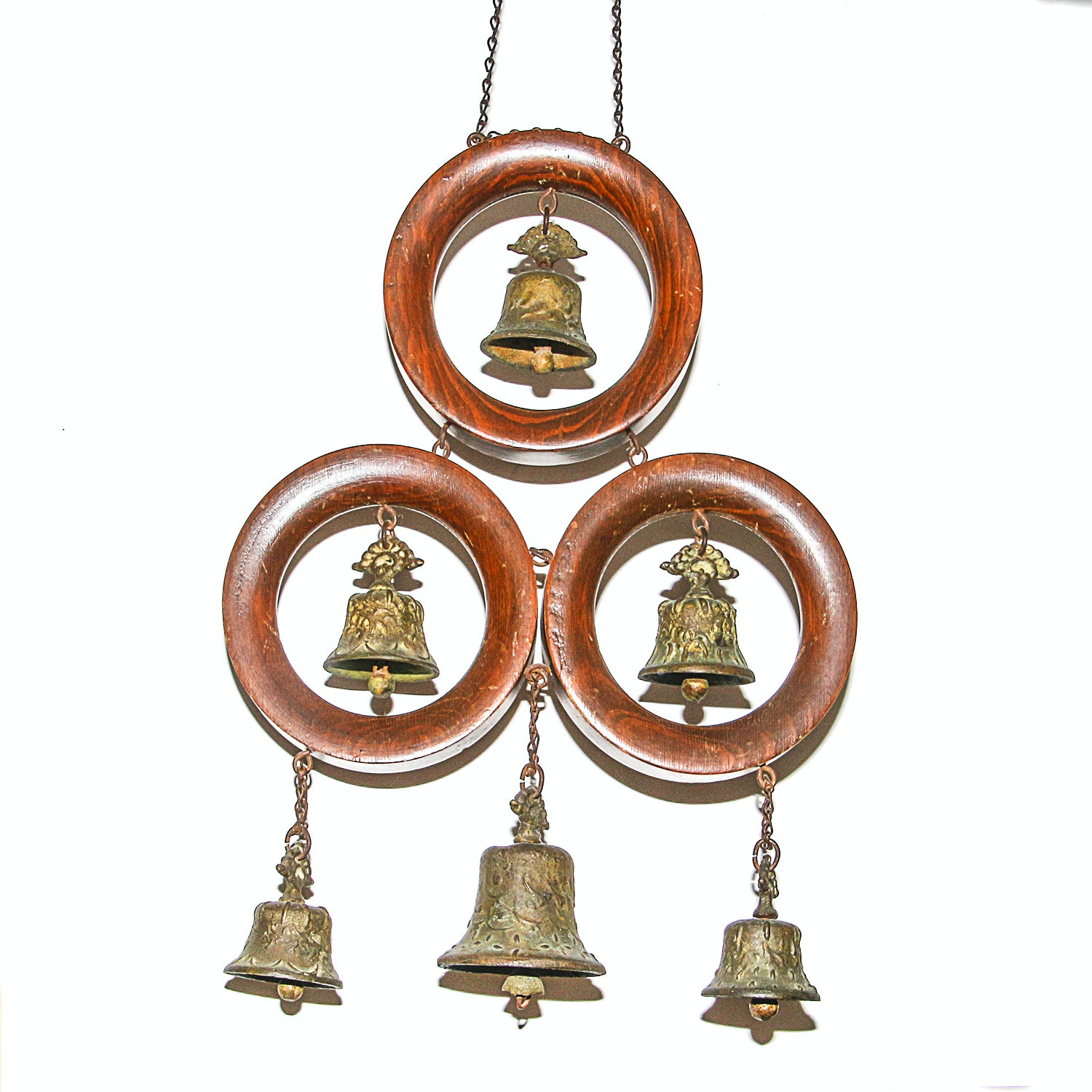 Vintage Mexican Wood and Cast Metal Bells