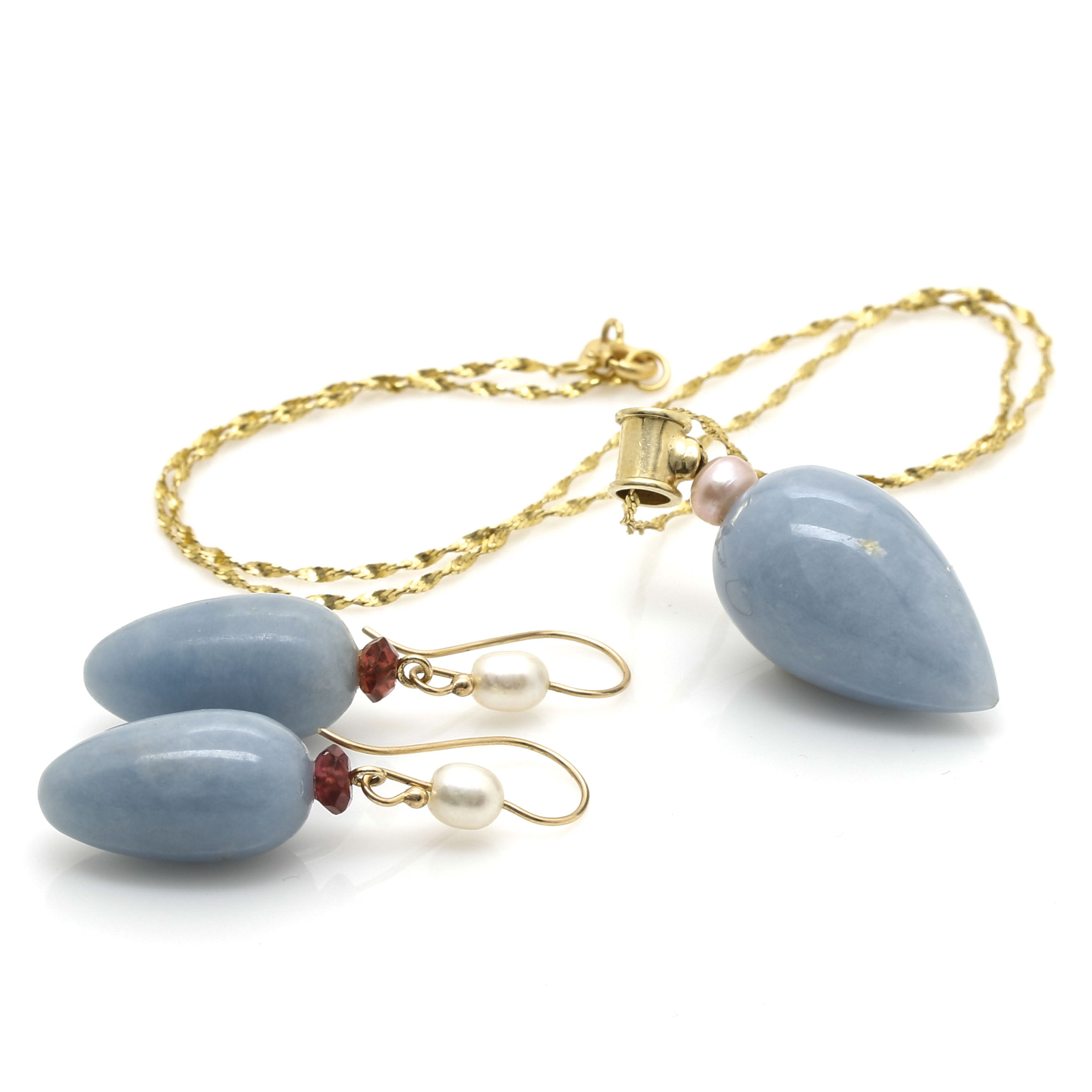 14K Yellow Gold Calcite Necklace and Earrings