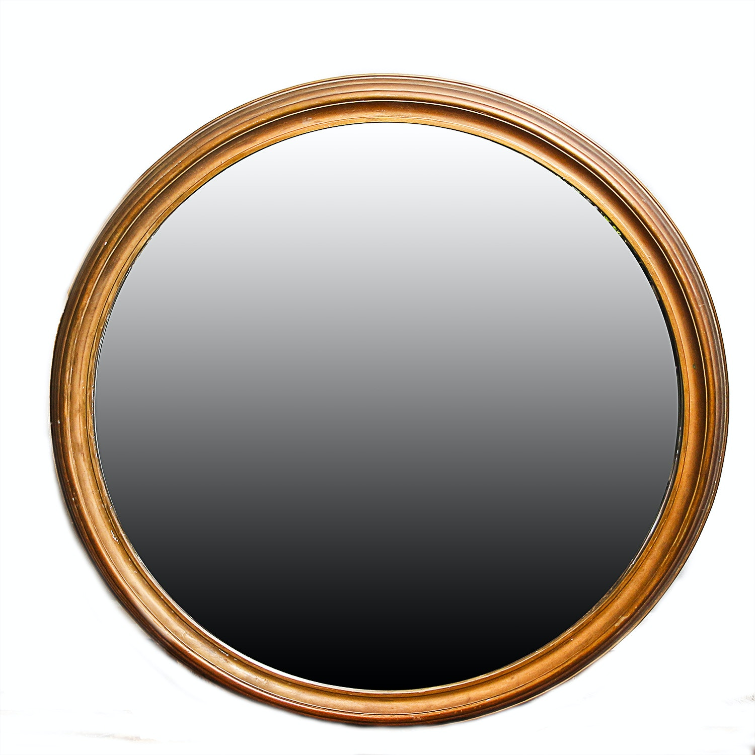 Round Mirror with Wooden Frame and Gilt Finish