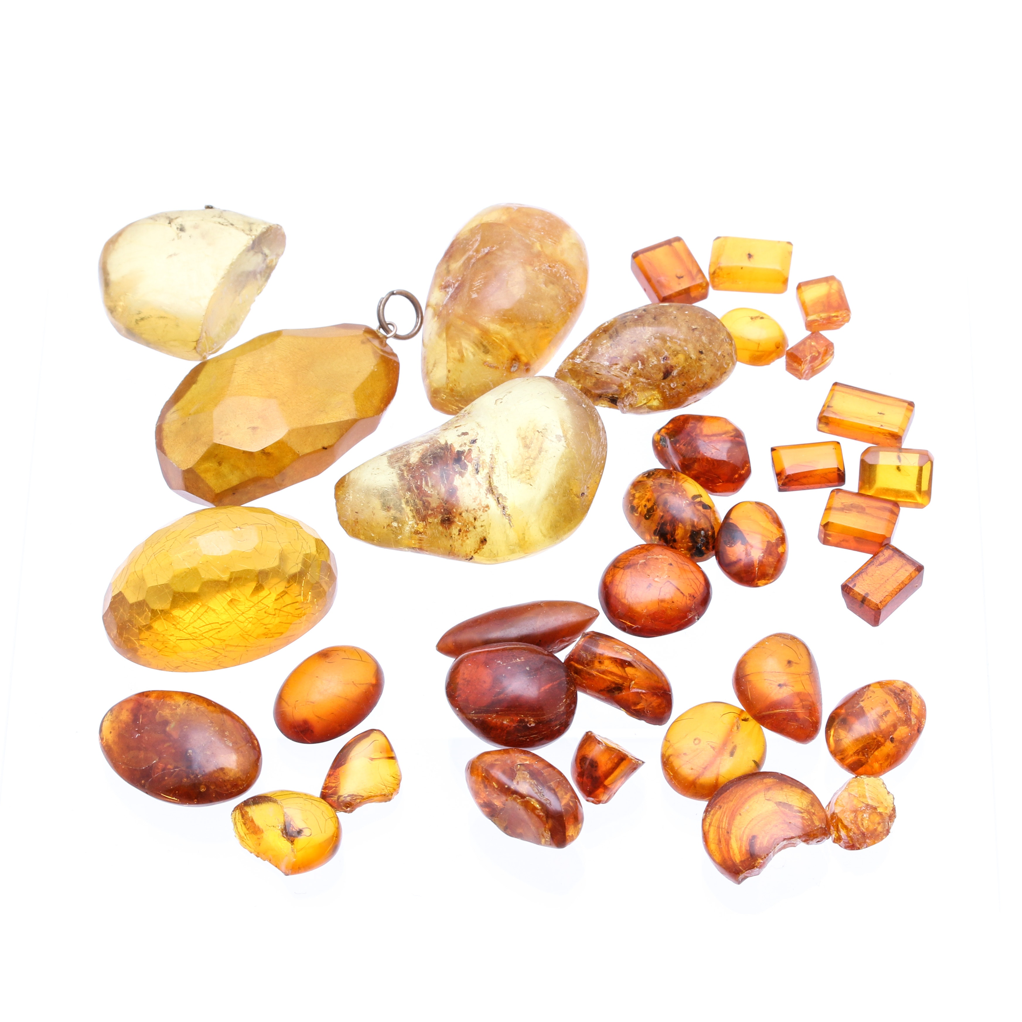 Grouping of Various Loose Amber Stones