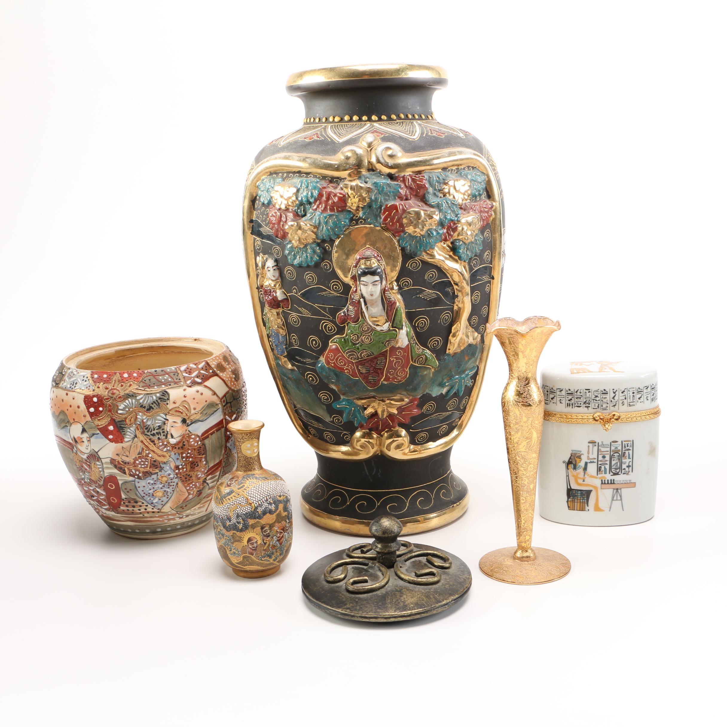 Decorative Vases With Gold Tone Detailing Featuring Bernardaud