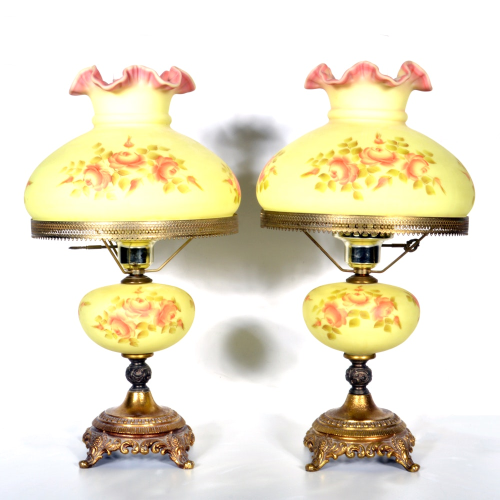 Hand Painted And Signed Fenton Glass Lamps ...