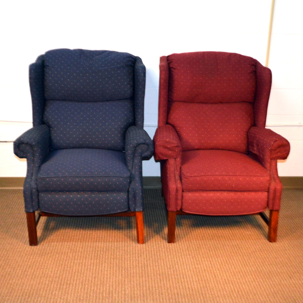 Chippendale Style Reclining Wing Back Chairs