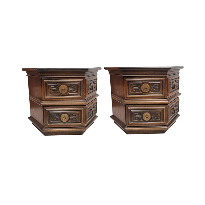 American of Martinsville Chinese-Inspired Hexagonal End Tables