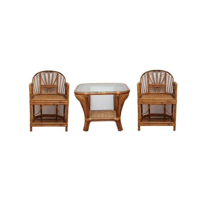 Brighton Pavilion Style Bamboo Armchairs With Rattan Side Table ...