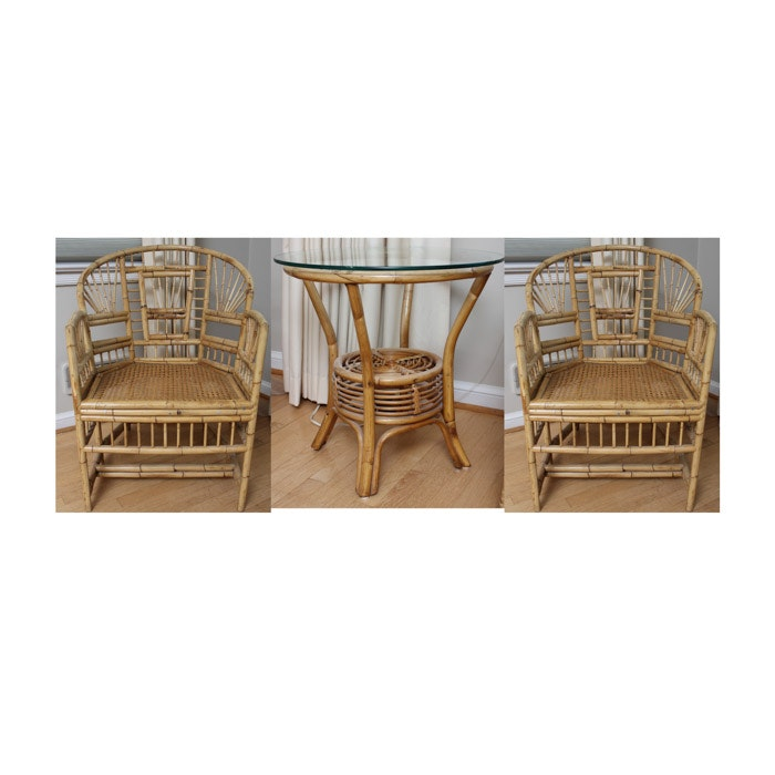 Brighton Pavilion Style Bamboo Armchairs With Rattan Side Table