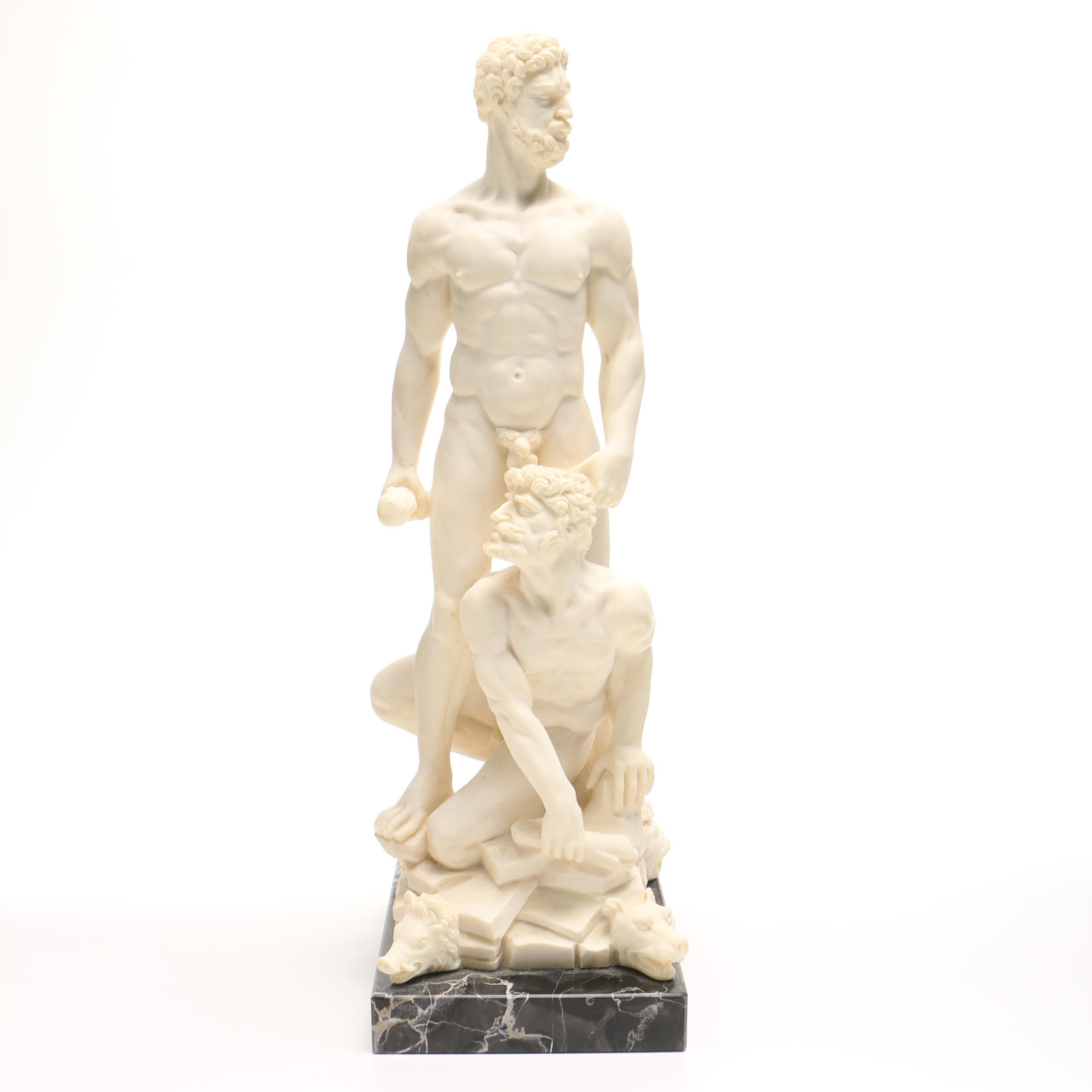 """After Baccio Bandinelli Resin and Marble Sculpture """"Hercules and Cacus"""""""
