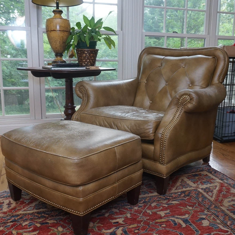 Leather Armchair and Ottoman by Hancock & Moore