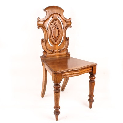 Antique 19th Century Carved Oak Hall Chair
