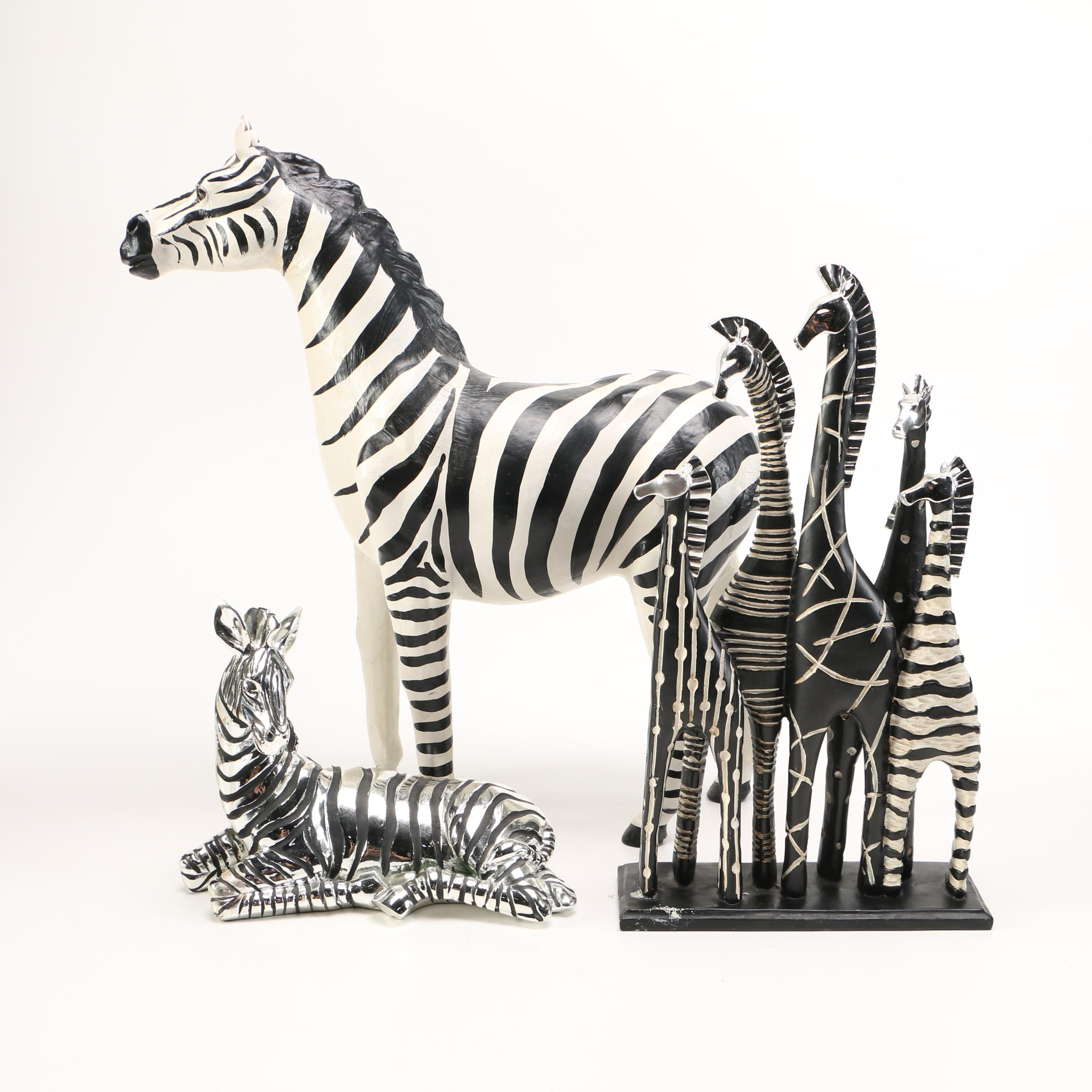 """Assortment of Zebra Figurines including """"Heritage by Jay"""""""
